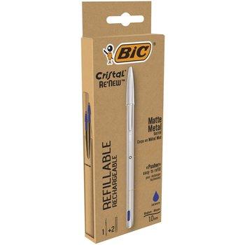 BIC BIC Stylo rechargeable Cristal Re-New, en métal Argent à capuchon. Pointe moyenne+2 recharges encre Bleue