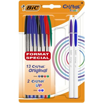 BIC Lot de 13 stylos bille Cristal original + 2 stylos cristal UP