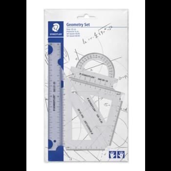 STAEDTLER STAEDTLER® 569 PB - Set de géométrie pour gauchers & droitiers (règle 20 cm/rapporteur/équerres 60° & 45°)