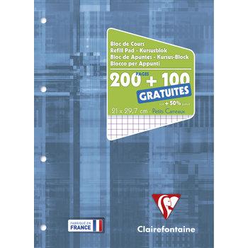CLAIREFONTAINE Bloc de Cours 21 x 29,7 cm - 200 pages + 100 GRATUITES - Q.5x5 - Perforé 4T