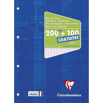 CLAIREFONTAINE Bloc de Cours 21 x 29,7 cm - 200 pages + 100 GRATUITES - Séyès - Perforé 4T
