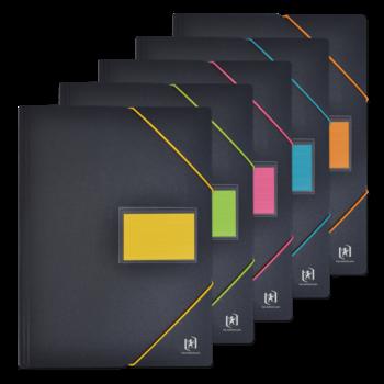 OXFORD Protège-Documents avec Élastiques For Student A4 - 60 Pochettes, 120 vues - Polypro - Couleurs Assorties
