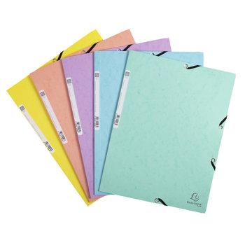 EXACOMPTA Chemise à élastiques carte lustrée 400g/m2 Aquarel - A4 - Couleurs assorties