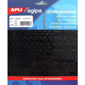 APLI Pochette de 191 lettres adhésives noires - 12,5 mm