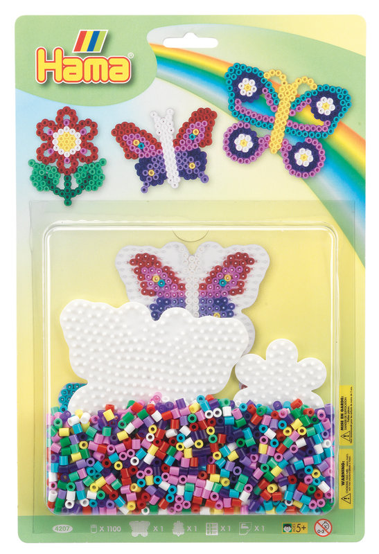 HAMA Midi blister GM plaques papillon, petite fleur + perles
