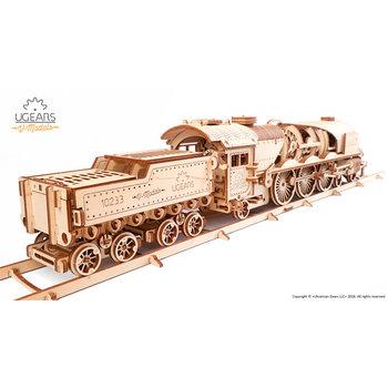 UGEARS V-Express Locomotive à Vapeur Bois 538 Pièces 560x120x120mm
