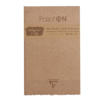 CLAIREFONTAINE Paint'ON assorti bloc collé bords frangés 13,9x21,5cm 50F 250g