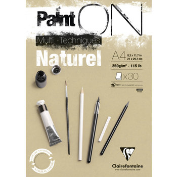 CLAIREFONTAINE Bloc Paint'On encollé A4 30F 250g naturel
