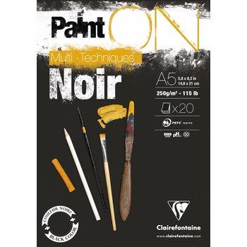 CLAIREFONTAINE Bloc Paint'On Noir collé en tête 20F 250g A5