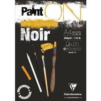 CLAIREFONTAINE Bloc Paint'On Noir collé en tête 20F 250g A4