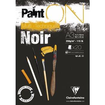CLAIREFONTAINE Bloc Paint'On Noir collé en tête 20F 250g A3