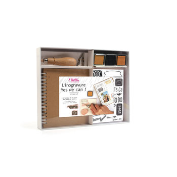 GRAINE CREATIVE Kit Linogravure + Outil + 2 Embouts + Decalques + Calepin