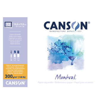 CANSON Bloc 12Fl Col 4 Cotes Montval ®  A6 300G Grain Fin Blanc Naturel