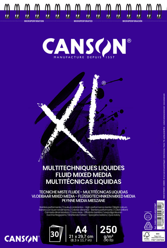 CANSON Album 30Fl Xl® Fluid mixed media A4 250G