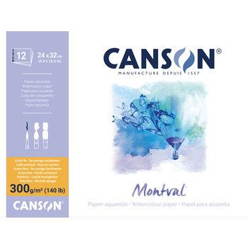 CANSON Bloc 12Fl Col 1 Cote Montval ®  24X32 300G Grain Fin Blanc Naturel