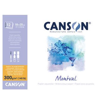 CANSON Bloc 12Fl Col 1 Cote Montval ®  18X25 300G Grain Fin Blanc Naturel
