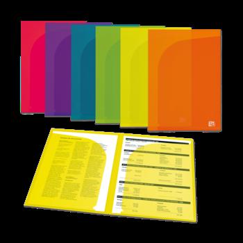 OXFORD Sachet 12 Pochettes Double Presentation  A4 Polypro couleurs assorties