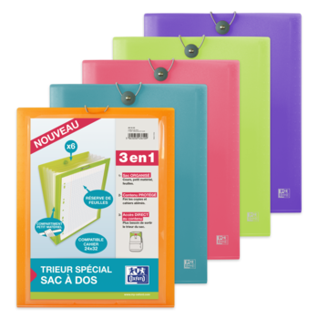OXFORD Trieur Ext Sac à dos School Life A4 6 pochettes Polypro Transp couleurs aléatoires
