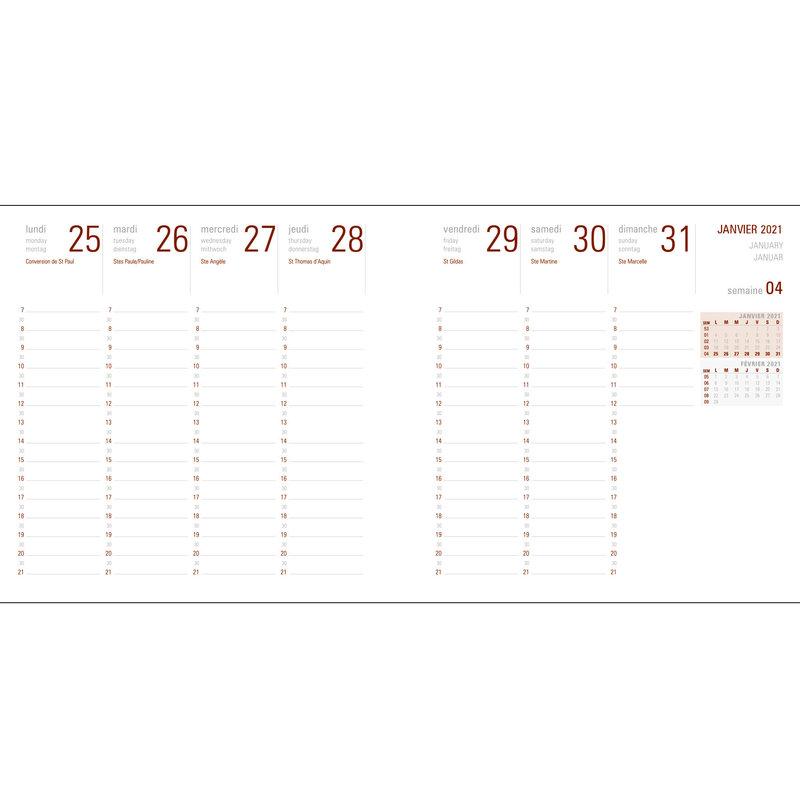 OBERTHUR Agenda civil Flex semainier 16x16cm Rouge