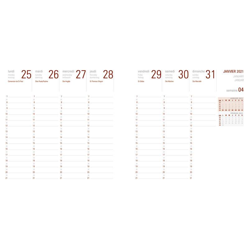 OBERTHUR Agenda civil Flex semainier 16x16cm Orange