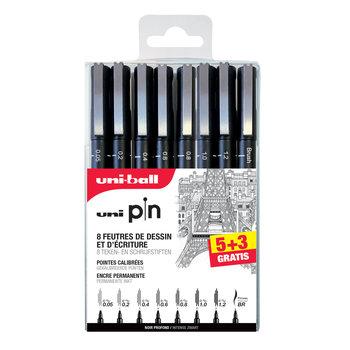 UNI-BALL Pochette de 5 + 3 gratuits feutres techniques UNI PIN pointe calibrée 0.05 0.2 noir