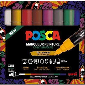 POSCA Set de 8 marqueurs pointe conique moyenne - Couleurs basiques PC5M/8 Noir - Blanc - Rouge - Bleu Foncé - Jaune - Vert Foncé - Rose - Bleu Clair