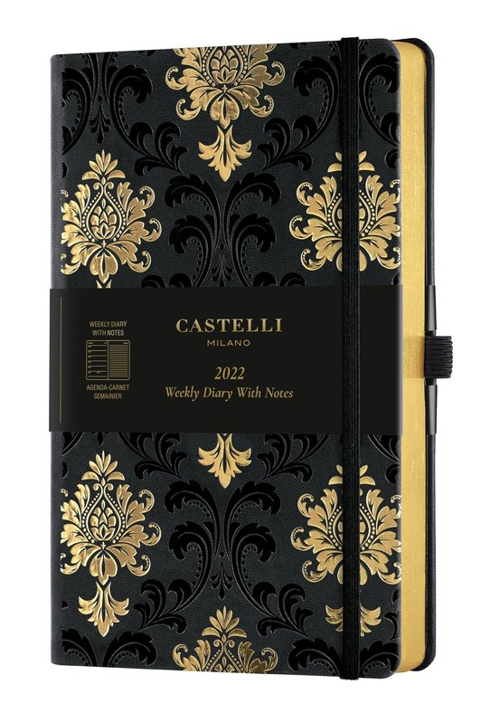 CASTELLI Agenda 2022 Semainier horizontal + notes Grand Format C&G Baroque Gold