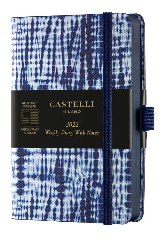 CASTELLI Agenda 2022 Semainier horizontal + notes Poche Shibori Jute