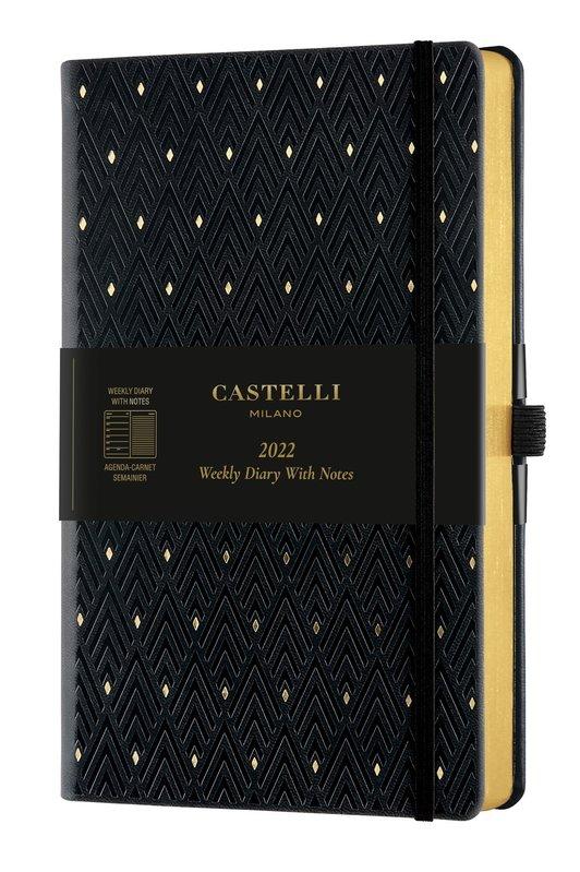 CASTELLI Agenda 2022 Semainier horizontal + notes Grand Format C&G Diamonds Gold