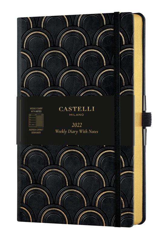 CASTELLI Agenda 2022 Semainier horizontal + notes Grand Format C&G Art Deco Gold