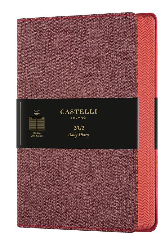 CASTELLI Agenda 2022 Journalier Grand Format Harris Maple Red