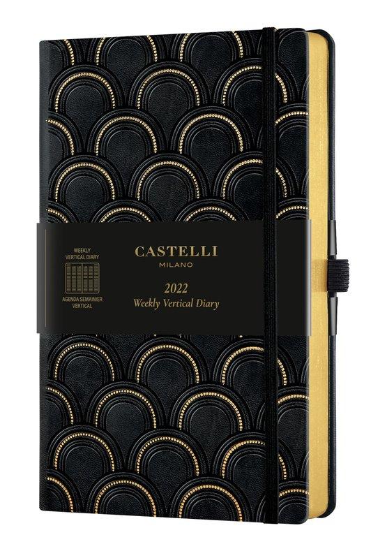 CASTELLI Agenda 2022 Semainier Vertical Grand Format C&G Art Deco Gold