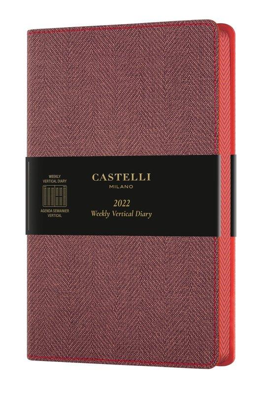 CASTELLI Agenda 2022 Semainier Vertical Grand Format Harris Maple Red