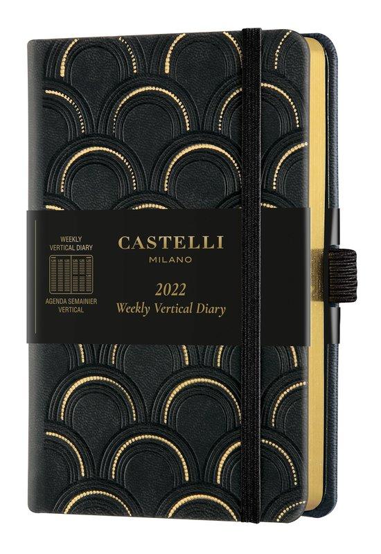 CASTELLI Agenda 2022 Semainier Vertical Poche C&G Art Deco Gold