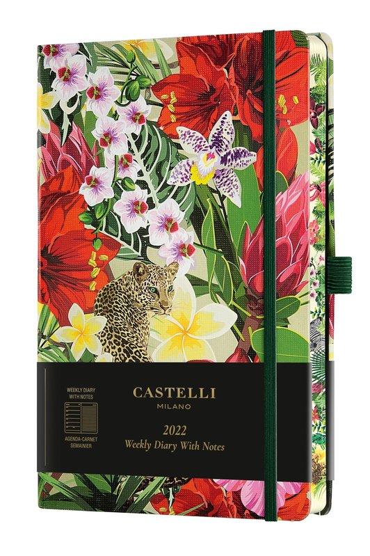 CASTELLI Agenda 2022 Semainier horizontal + notes Grand Format Eden Leopard