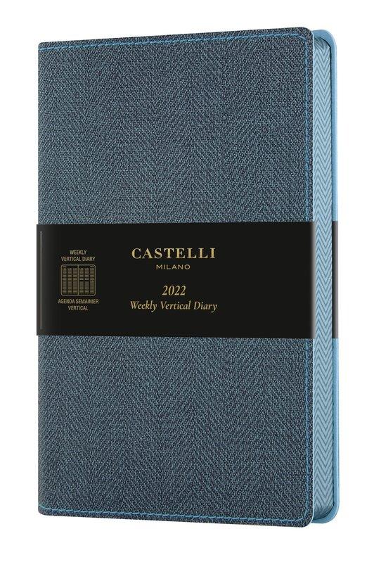 CASTELLI Agenda 2022 Semainier Vertical Grand Format Harris Slate Blue