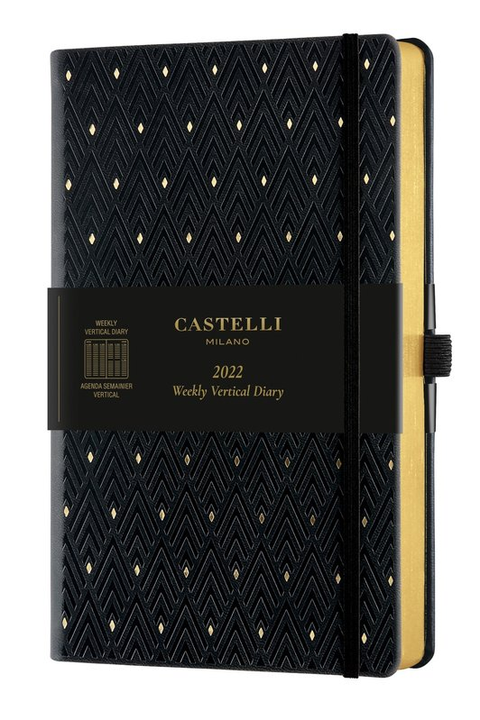 CASTELLI Agenda 2022 Semainier Vertical Grand Format C&G Diamonds Gold
