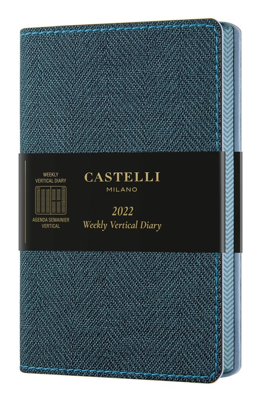 CASTELLI Agenda 2022 Semainier Vertical Poche Harris Slate Blue