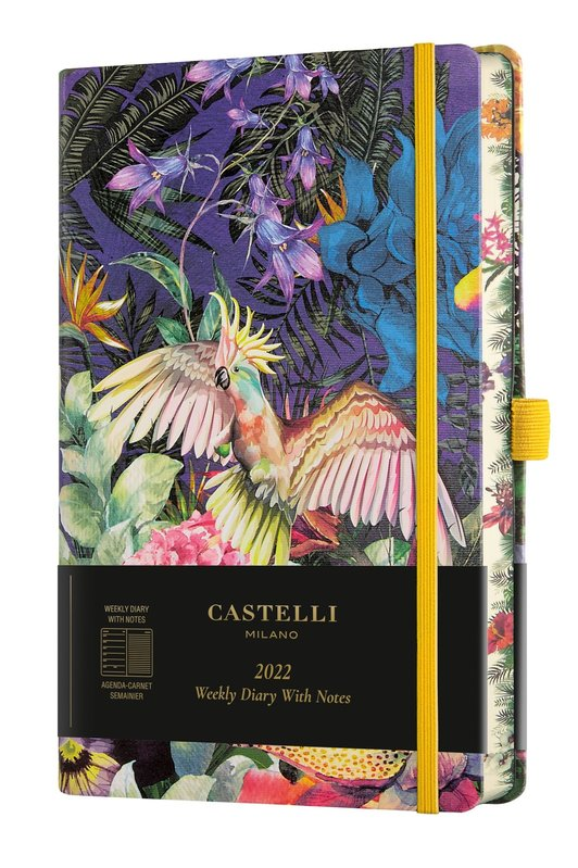 CASTELLI Agenda 2022 Semainier horizontal + notes Grand Format Eden Cockatiel