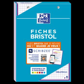 OXFORD BLOC BRISTOL 2.0 OXFORD PERFORE 148X210 30 FICHES 210G Q5/5 ASSORTI