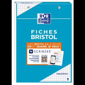 OXFORD BLOC BRISTOL 2.0 OXFORD PERFORE 148X210 30 FICHES 210G Q5/5 BLANC