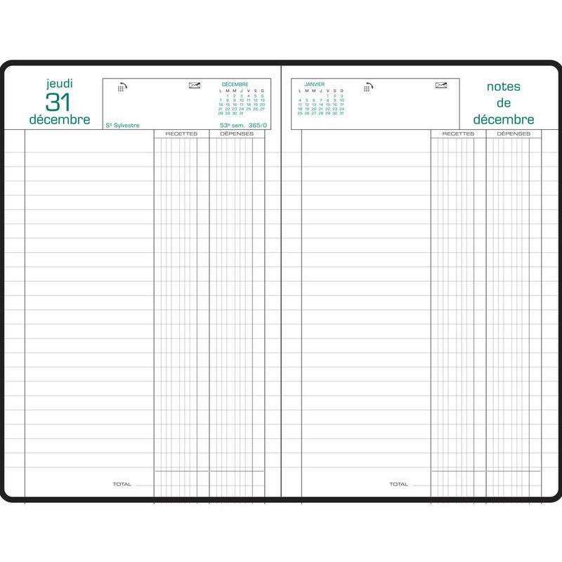 EXACOMPTA Agenda Civil Journalier bureau Recettes/Dépenses 13,5x21cm