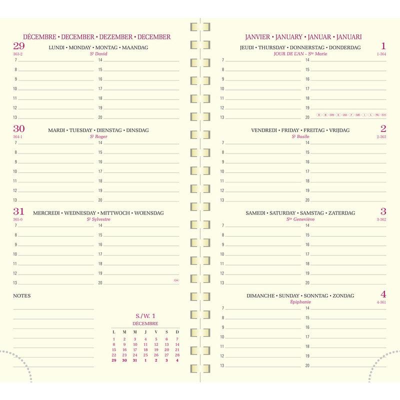 EXACOMPTA Agenda Civil Semainier Eurotime 16S Baby-Croco 9x16cm coloris aléatoires
