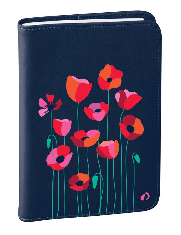 QUO VADIS Agenda Civil Affaires Bloom semainier 10x15cm coquelicot bleu