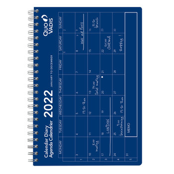 QUO VADIS Calendrier Oslo mensuel 16x24cm bleu