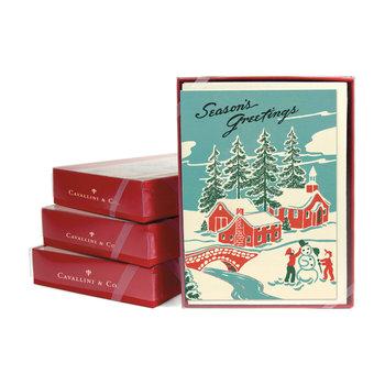 CAVALLINI Set de 10 Cartes Postales Vintage + enveloppes Hiver Merveilleux