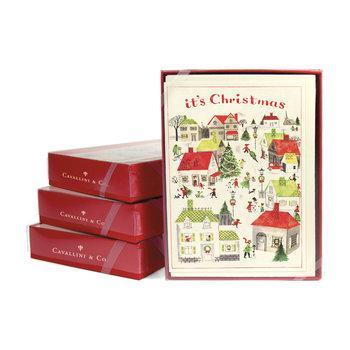 CAVALLINI Set de 10 Cartes Postales Vintage + enveloppes Village de Noël