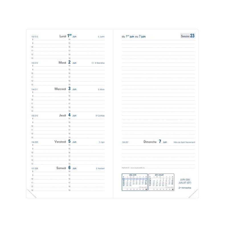 QUO VADIS Agenda Civil Italnote B Nacre rep semainier 8,8x17cm or