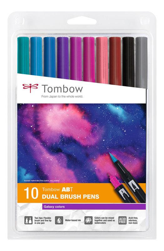TOMBOW ABT-10C-3 Feutres pinceaux ABT Dual Brush Pen Kit de 10, Galaxy Colors (respectivement 1x 407, 493, 555, 636, 665, 755, 803, 873, N15, N55)