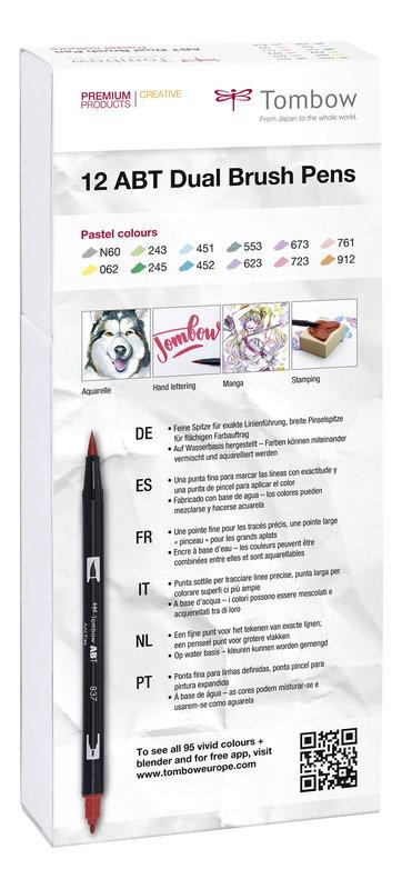 TOMBOW ABT-12P-2 Feutres pinceaux ABT Dual Brush Pen Kit de 12, couleurs pastel (respectivement 1 x N60, 062, 243, 245, 451, 452, 553, 623, 673, 723, 761, 912)